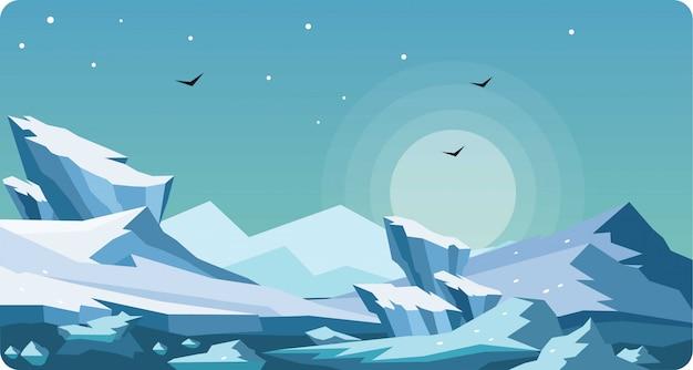Winter-arktische landschaftsvektor-illustration Premium Vektoren
