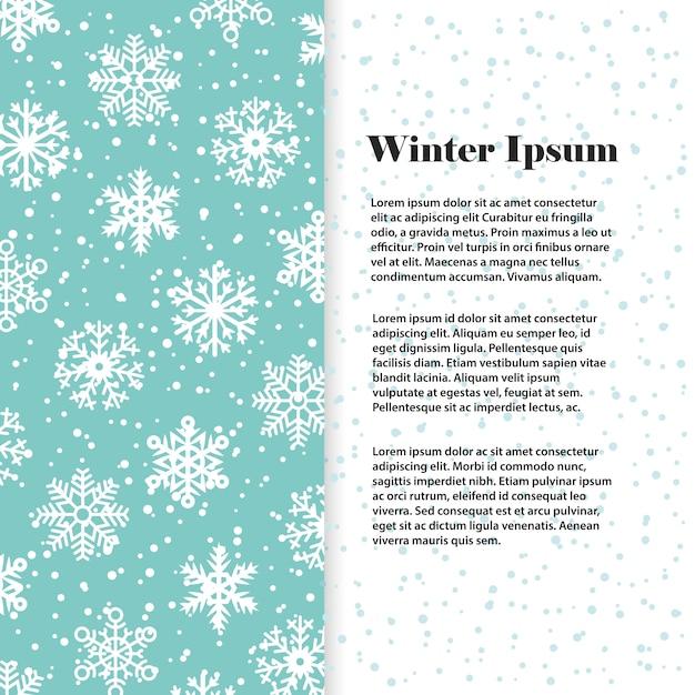 Winter banner oder flyer vorlage mit weißen schneeflocken Premium Vektoren