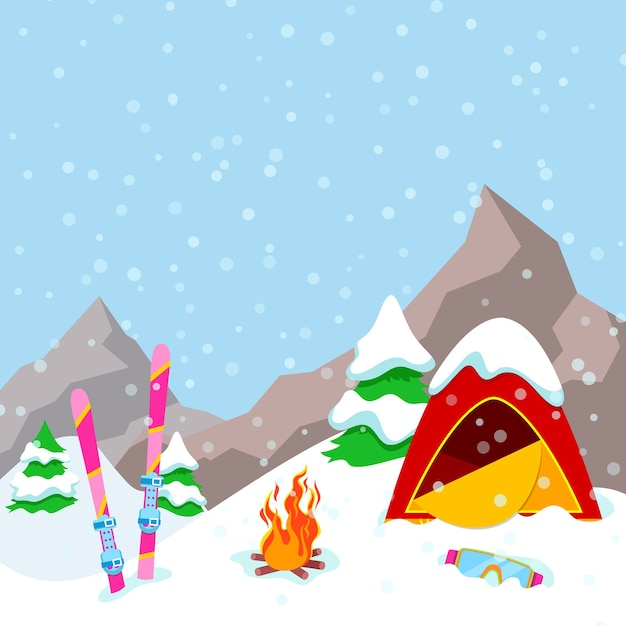 Winter camp mountains landschaft mit zelt, kamin und skiausrüstung. hintergrund Premium Vektoren