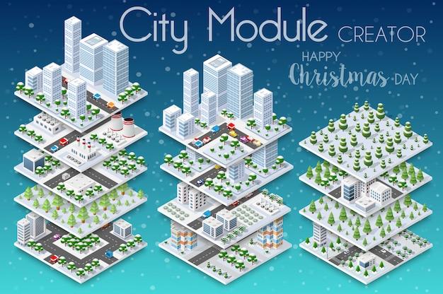 Winter christmass stadt Premium Vektoren