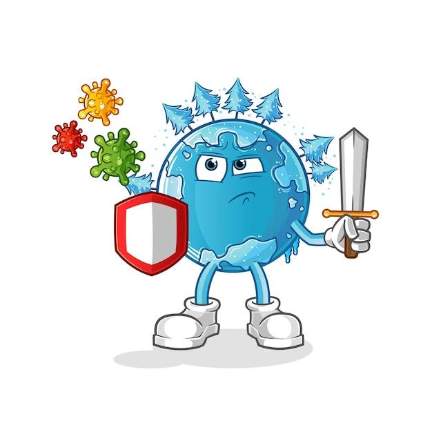 Winter erde gegen viren cartoon. cartoon maskottchen Premium Vektoren