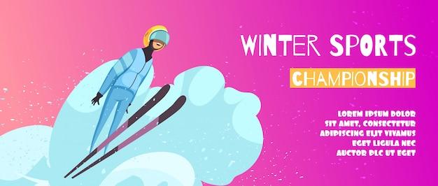 Winter-extremsport-meisterschaftsplakat mit springenden symbolen flach Kostenlosen Vektoren