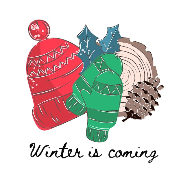 Winter-farbvektor-illustrations-satz winter Premium Vektoren