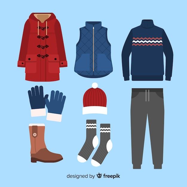 Winter-flaches outfit Kostenlosen Vektoren