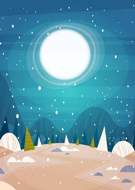 Winter forest landscape moon shining über snowy-bäumen, frohen weihnachten und guten rutsch ins neue jahr-fahnen-feiertags-konzept Premium Vektoren