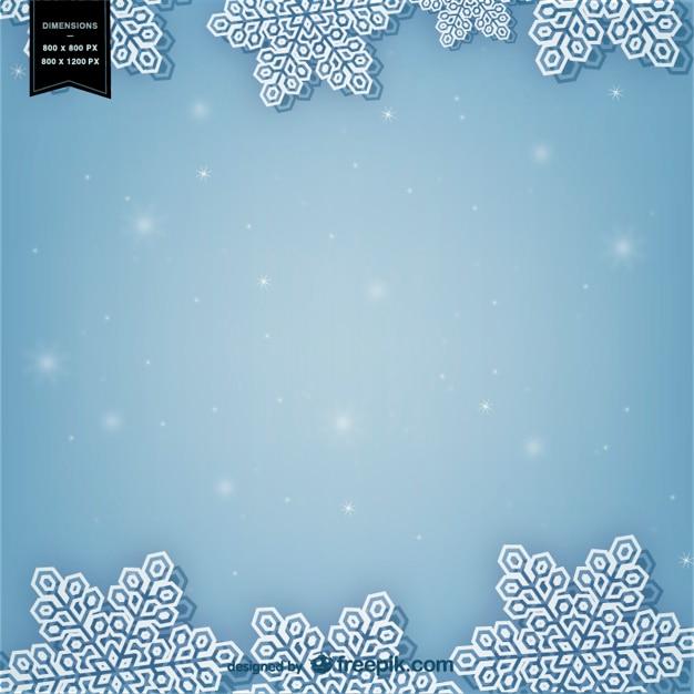 Winter hintergrund mit weißen schneeflocken Kostenlosen Vektoren