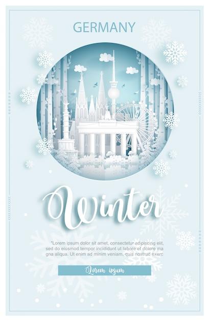 Winter in deutschland für reise- und reisewerbekonzept Premium Vektoren
