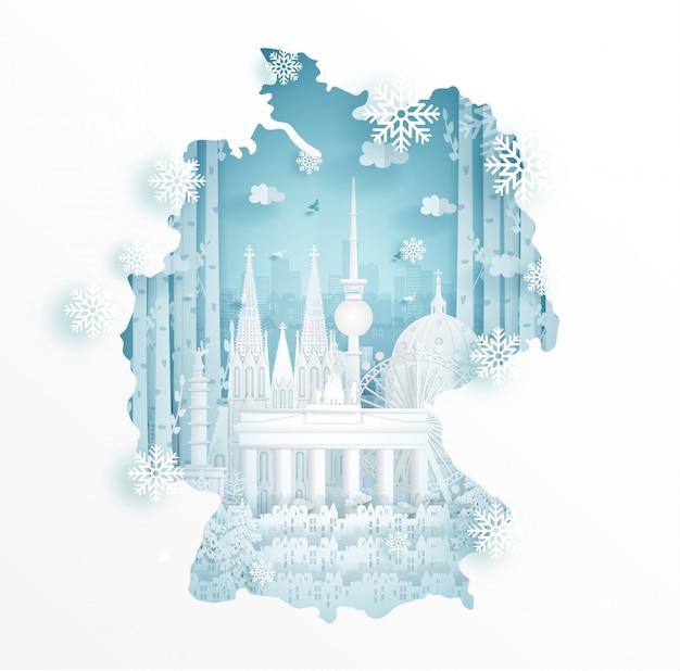 Winter in deutschland mit kartenkonzept für reise- und ausflugwerbekonzept Premium Vektoren