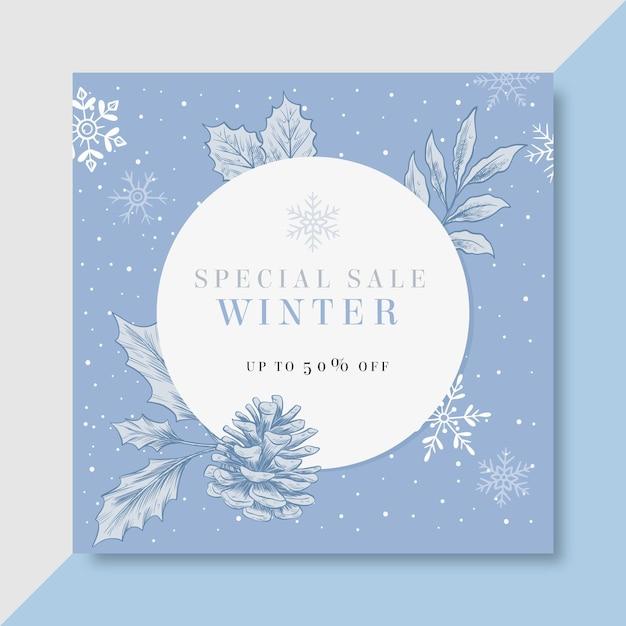 Winter instagram post vorlage Kostenlosen Vektoren