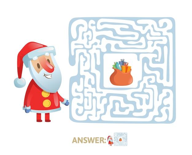 Winter maze labyrinth game mit antwort. hilf dem weihnachtsmann, den weg aus dem labyrinth zu finden. Premium Vektoren