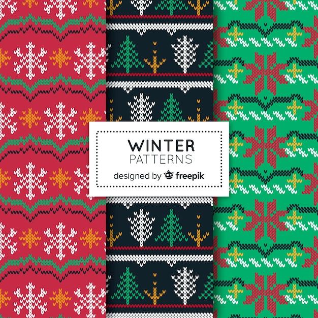 Winter-muster-kollektion Kostenlosen Vektoren