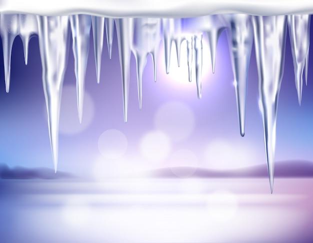 Winter-realistischer hintergrund mit eiszapfen Kostenlosen Vektoren