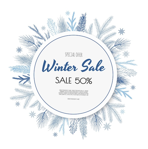 Winter sale banner design. Premium Vektoren