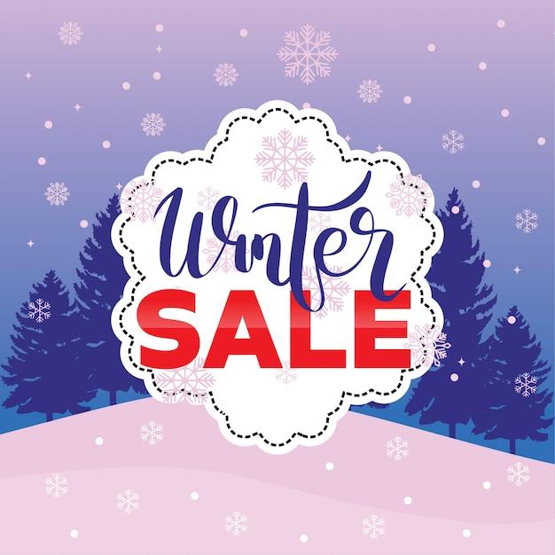 Winter sale banner label flayer tag schneeflocke hintergrund Premium Vektoren