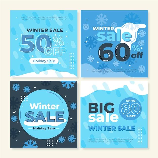 Winter sale instagram post sammlung Kostenlosen Vektoren