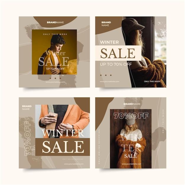 Winter sale instagram post sammlung Premium Vektoren