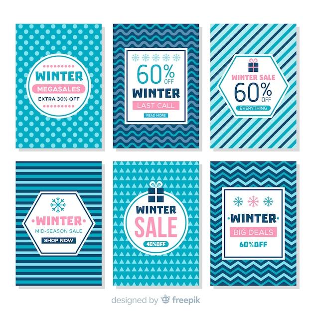 Winter sale karten gesetzt Kostenlosen Vektoren