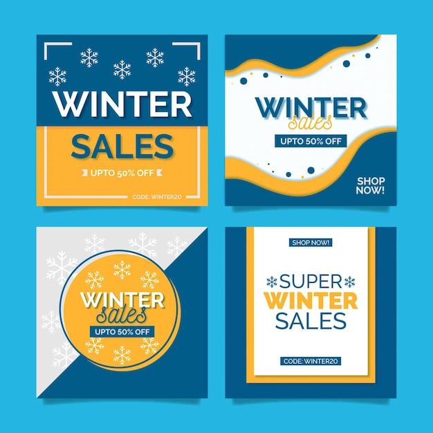 Winter sale social media beiträge Premium Vektoren