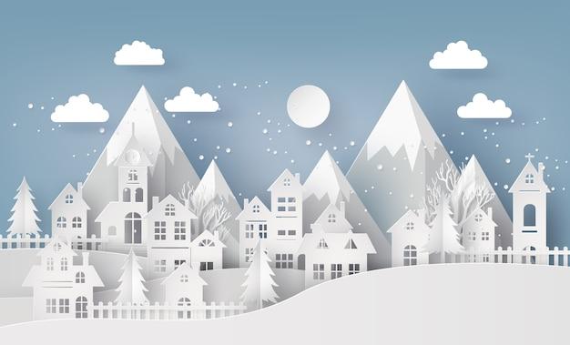 Winter-schnee-städtisches landschafts-landschaftsstadt-dorf Premium Vektoren