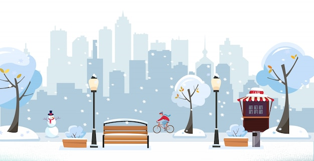 Winter schneebedeckten park. öffentlicher park in der stadt mit straßencafé gegen hochhausschattenbild. landschaft mit radfahrer, blühenden bäumen, laternen, holzbänken. flache cartoon-vektor-illustration Premium Vektoren