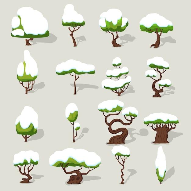 Winter snowbound trees collection Kostenlosen Vektoren