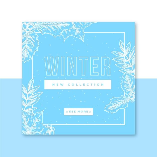 Winter social media beiträge Kostenlosen Vektoren