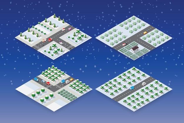 Winter stellte weihnachten ein Premium Vektoren