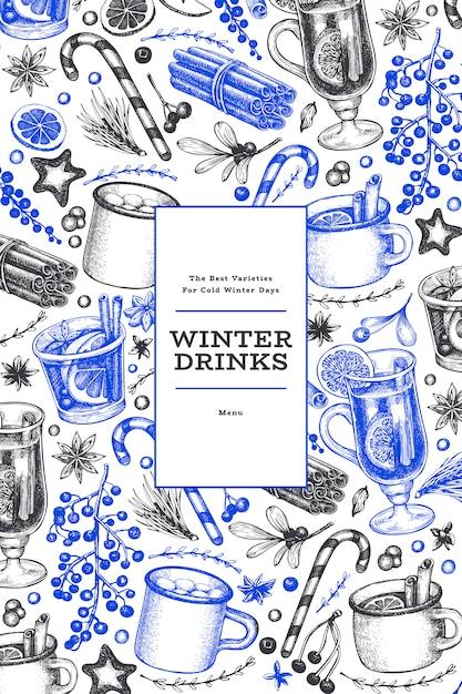 Winter trinkt blaue und schwarze schablone. Premium Vektoren