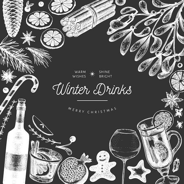Winter trinkt fahnenschablone. handgezeichnete gravierte stil glühwein, heiße schokolade, gewürze illustrationen auf tafel. vintage weihnachten. Premium Vektoren
