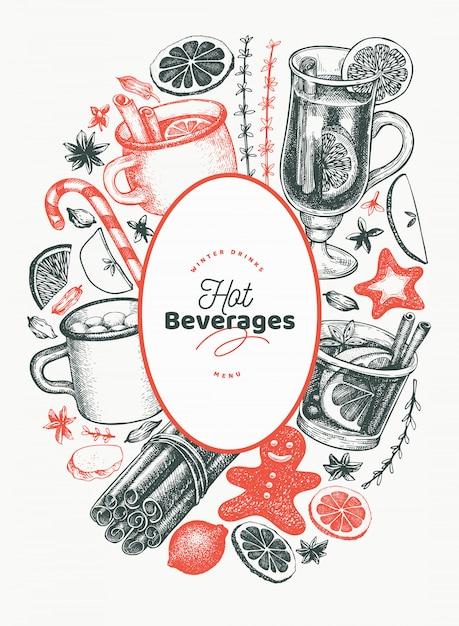 Winter trinkt vektordesignschablone. handgezeichnete gravierte stil glühwein, heiße schokolade, gewürze illustrationen Premium Vektoren