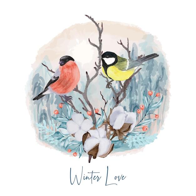 Winter vögel auf ast Premium Vektoren