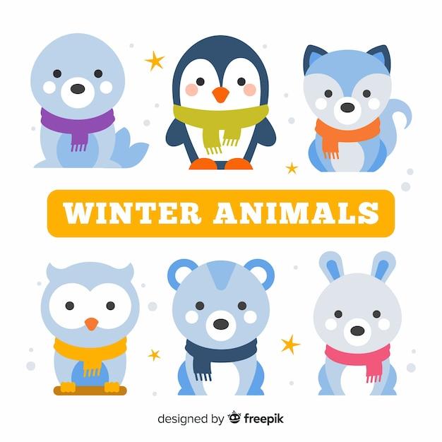 Winter waldtiersammlung Kostenlosen Vektoren