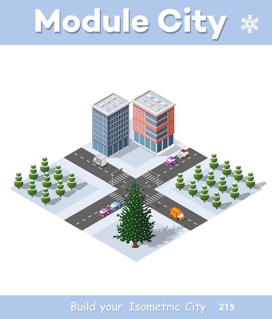 Winter weihnachten stadtviertel module Premium Vektoren