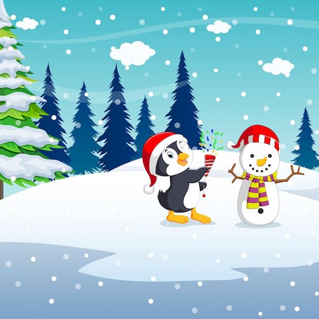 Winter-weihnachtshintergrund mit handgemachtem schneemann des pinguins Premium Vektoren