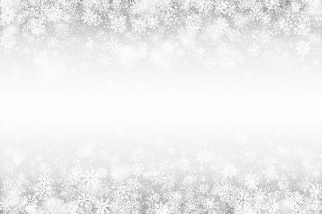 Winter-wirbelnder schnee-effekt-weiß-hintergrund Premium Vektoren