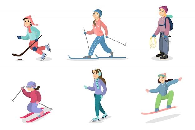 Winteraktivitäten eingestellt. menschen skifahren und snowboarden, eislaufen und wandern. Premium Vektoren