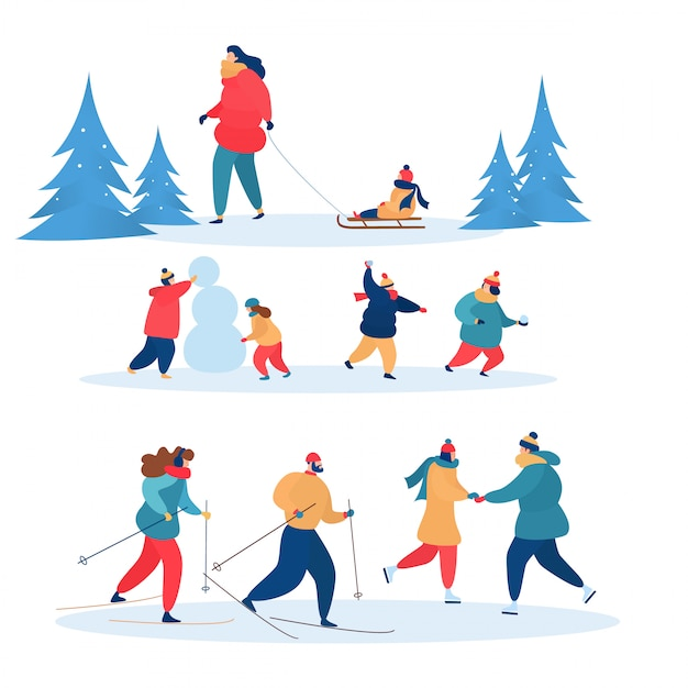 Winteraktivitäten vector die aktiven leute, die zusammen ski fahren, eislaufen und rodeln. illustrationssatz familiencharaktere Premium Vektoren