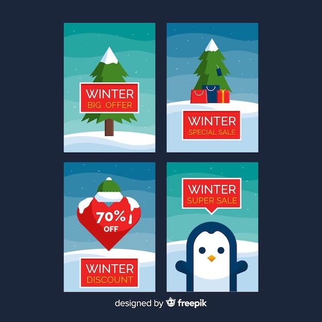 Winterausverkaufskarten Kostenlosen Vektoren