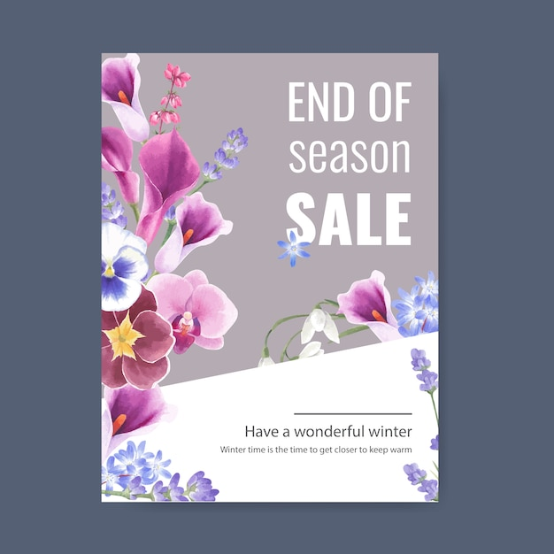 Winterblütenplakat mit orchidee, blumenknospe Kostenlosen Vektoren