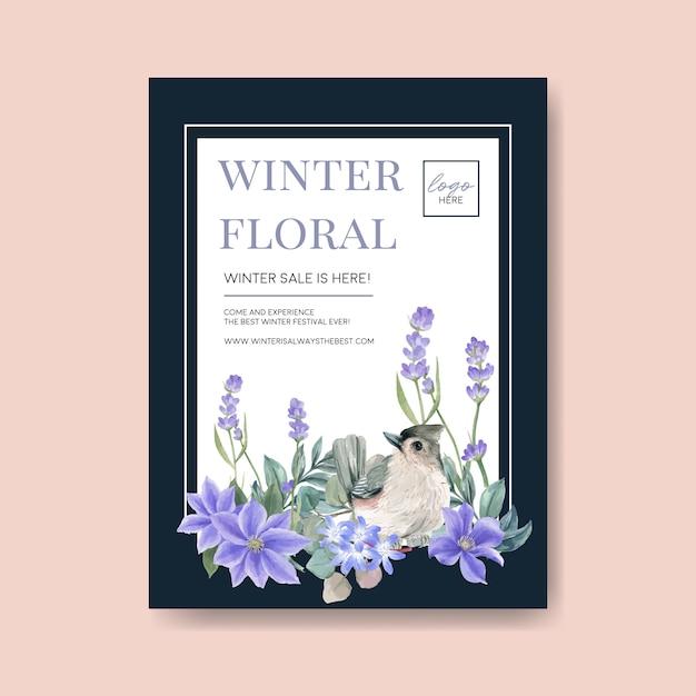 winterblütenplakat mit vogel blume  kostenlose vektor