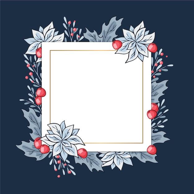 Winterblumen mit leerer fahne Kostenlosen Vektoren