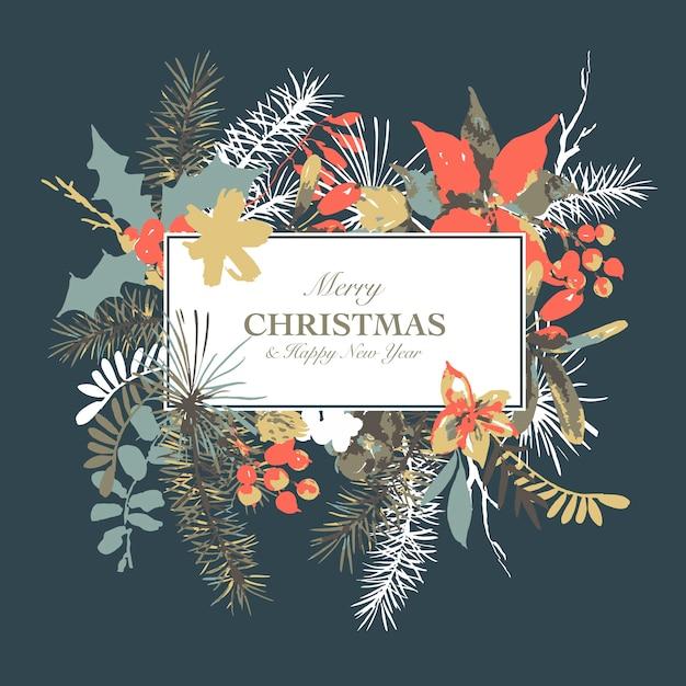 Winterblumenaquarell-grußkarte mit niederlassungen der stechpalme, der blumen und der beeren Premium Vektoren