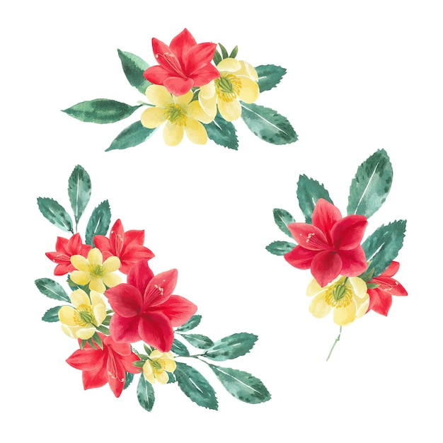 Winterblumenstrauß mit anemone, lilien, blättern Kostenlosen Vektoren