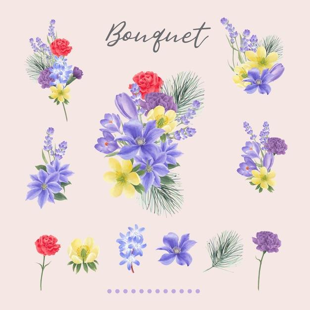 Winterblumenstrauß mit lilien, pfingstrose, lavendel Kostenlosen Vektoren