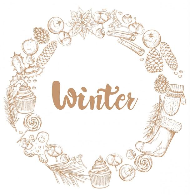 Winterdekorationskranz mit verzierungen Premium Vektoren