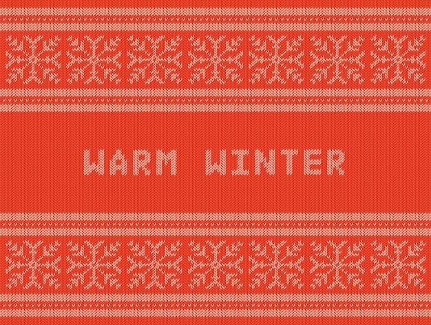 Winterferien gestricktes muster mit schneeflocken Premium Vektoren