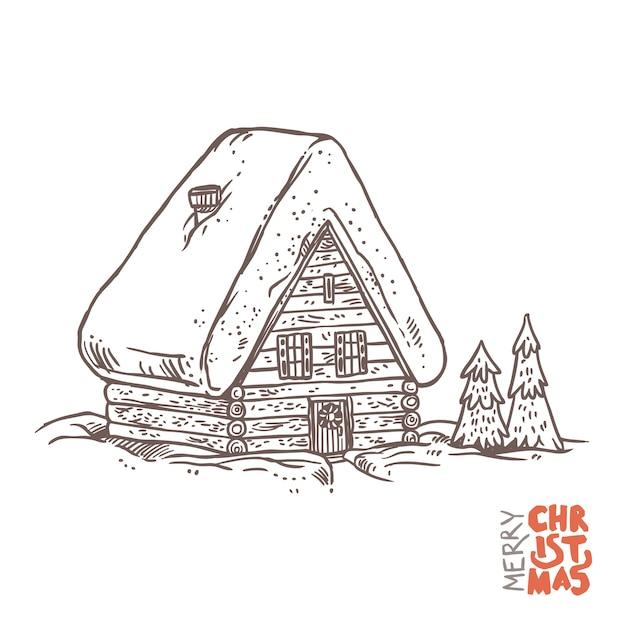 Winterferienhaus im vektor. holzhaus in der weihnachtszeit. Premium Vektoren