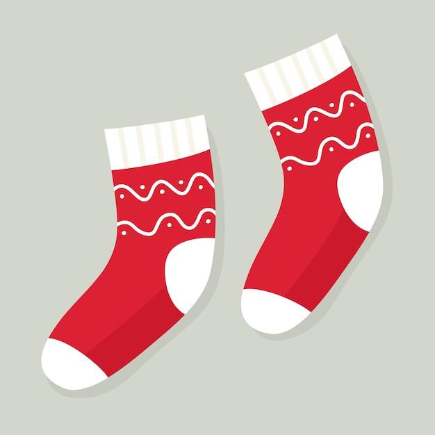 Winterferiensocken mit mustern. weihnachtssocken. im flachen cartoon-stil. Premium Vektoren