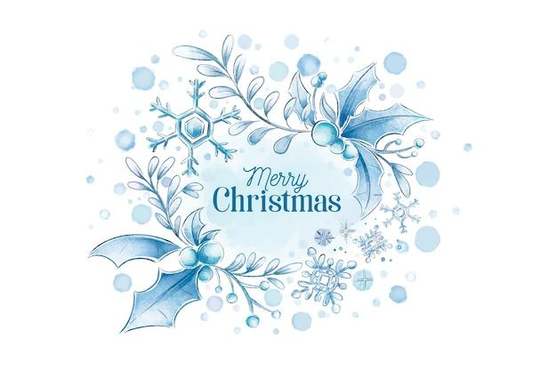 Winterhintergrund der frohen weihnachten des aquarells Kostenlosen Vektoren