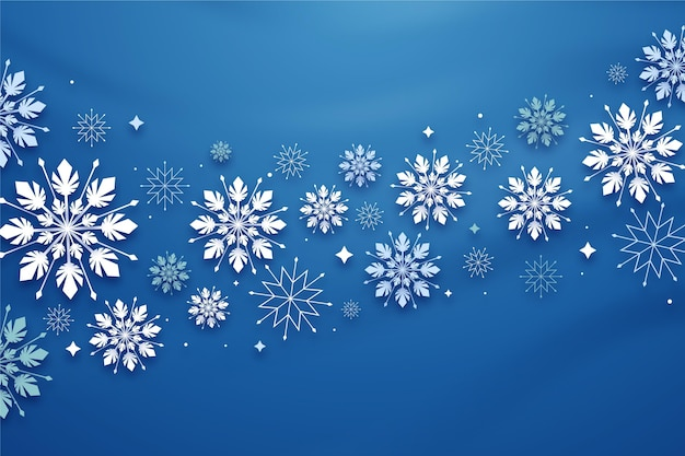 Winterhintergrund im papierstil Kostenlosen Vektoren